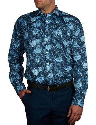 Blue Bergonia Print Slim Fit Shirt