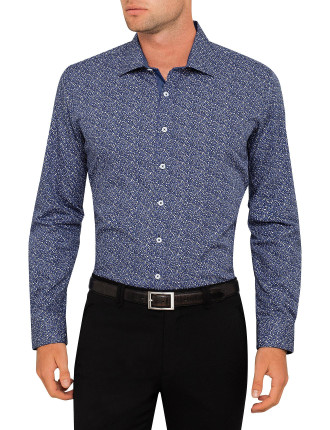 Micro Violet Print Body Fit Shirt