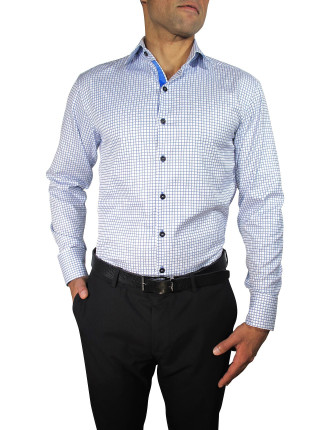 Twill Dobby Check Slim Fit Ribbon Trim Shirt