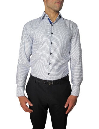 Double Weave Slim Fit Ribbon Trim Shirt