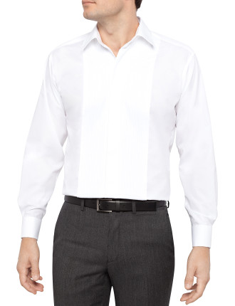 Pleat Flat Front Slim Fit Dress Shirt