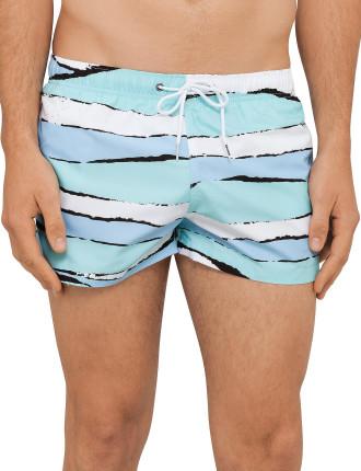 Torn Stripe Print Shortie Swim Short