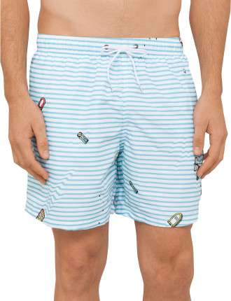 Water Stripe Mid Length Swim Short