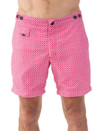 Umbrellas Pink Mid Length Swim Short