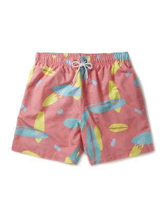 Coral/Yellow Multi Swim Short