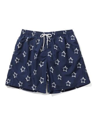 Navy White Star Print Swim Short