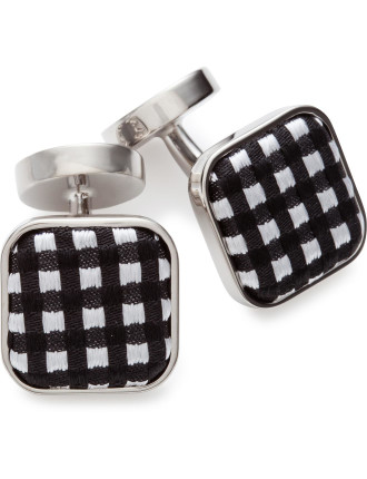 Warren Check Button Cufflinks