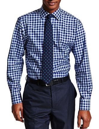 Slim Fit Plato Check Button Cuff Shirt