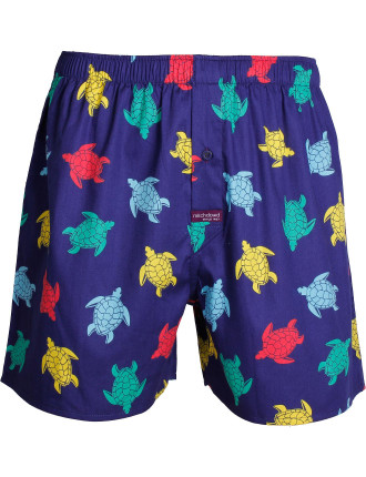 Swimming Turtles Printed Cotton Boxer