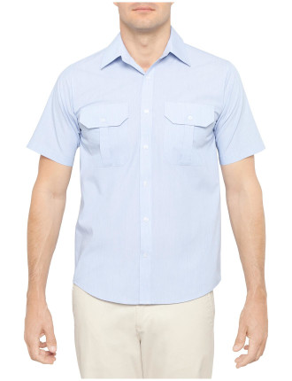 Short Sleeve Double Pocket Stripe Shirt