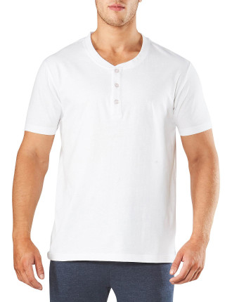 SHORT SLEEVE HENLEY SLEEP TEE