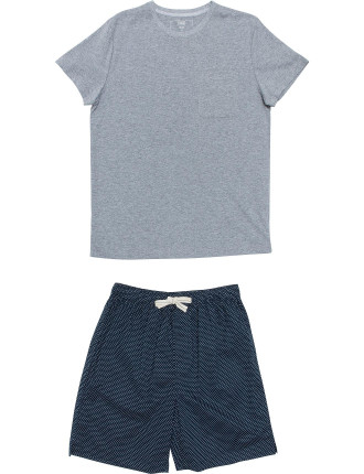 Ss Knit Top And Print Short