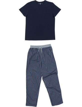 Ss Knit Top And Woven Pant