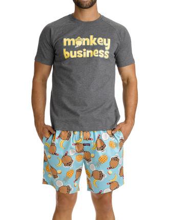 Cuban Monkey Mid-Length Printed Sleep Set