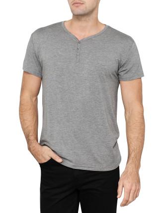 Short Sleeve Modal V Neck Henley