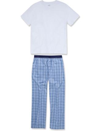Jersey Tee Woven Long Pant Set