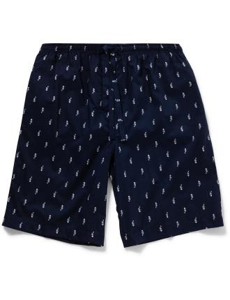 Nelson 50 Pure Cotton Batiste  Seahourse Print Lounge Shorts