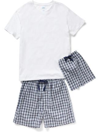 Mini Check Woven Short & Tee Set