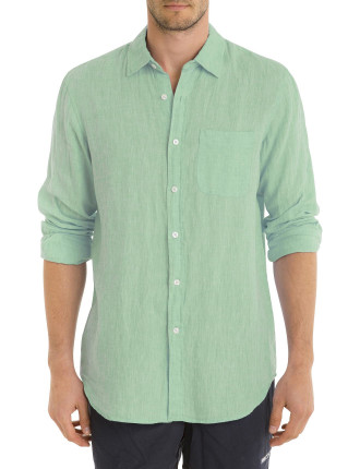 Long Sleeve Solid Colour Linen Shirt