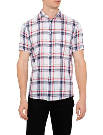 Short Sleeve Linen Check Shirt