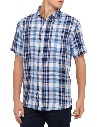 Short Sleeve Linen Madras Check