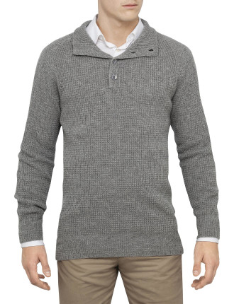 Wool Cashmere Waffle Buttotn Through Knit
