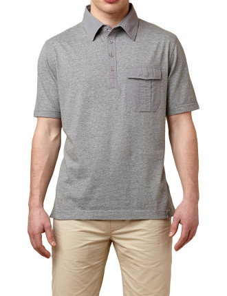 Short Sleeve Thompson Single Pocket Knitted Polo