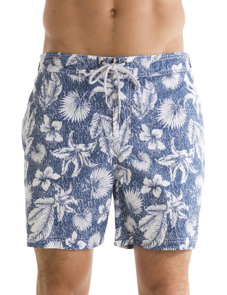 Textured Floral Swim Trunk