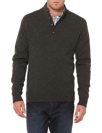 Angus Lambswool Button Neck Knit