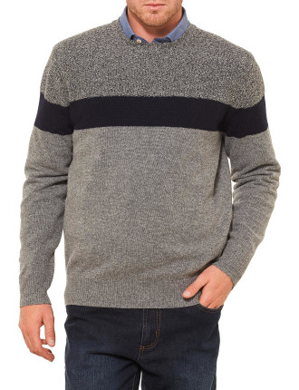 Orlando Lambswool Block Stripe Crew Neck Knit