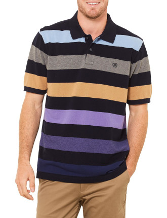 Short Sleeve Leo Stripe Pique Polo