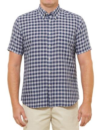 Short Sleeve Donald Linen Blend Check Shirt