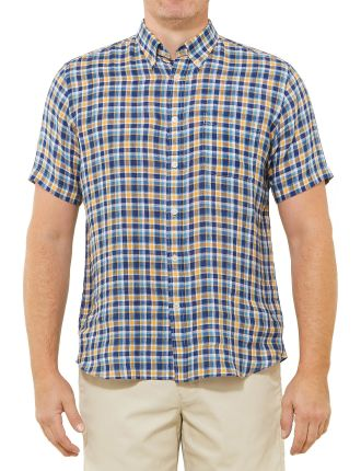 Short Sleeve Todd Pure Linen Check Shirt