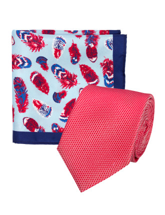 TIE AND POCKET SQUARE SET - GEO & FEATHER SILK