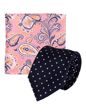 TIE AND POCKET SQUARE SET - SPOT & PAISLEY