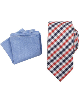 Tie & Pocket Square - Check/Plain