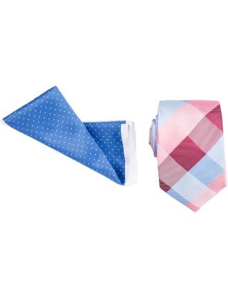 Tie & Pocket Square Set - Bold Check Pindot