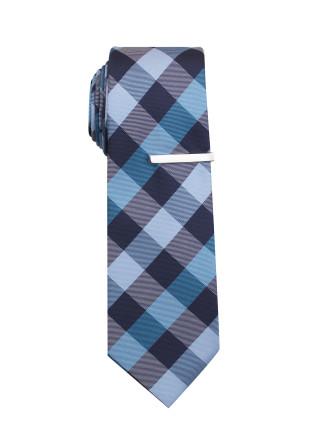 Tie & Tie Bar - Bold Check
