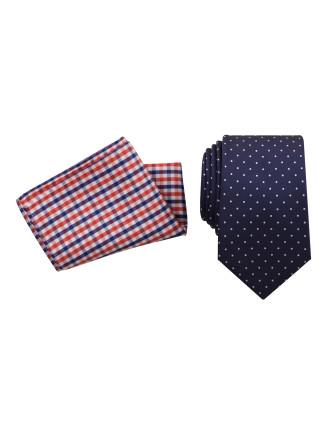 Tie & Pocket Square Set - Spot/Gingham