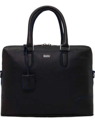 Posteo Stamped Leather Brief Case W/ Contrast Piping