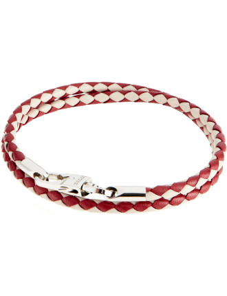 Woven Leather Bicolour Bracelet