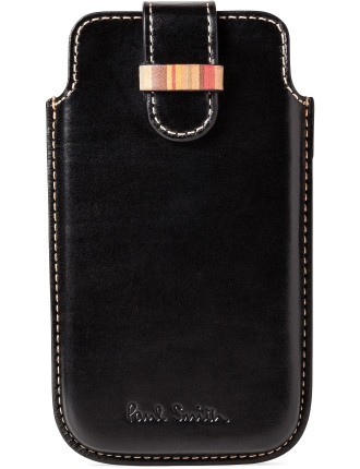 Leather Moulded Phone Case With Multistipe Trim