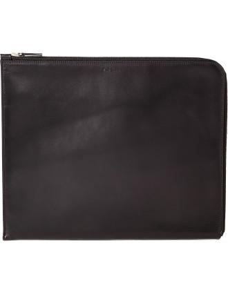Leather Document Case With Metallic Interior