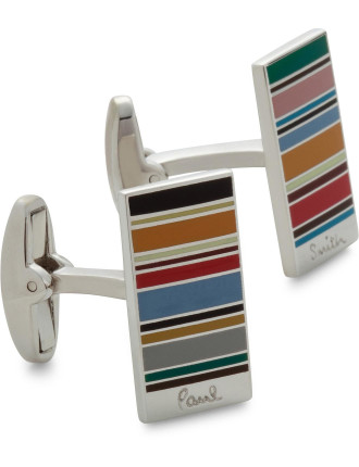 Ministripe Rectangular Cufflink with Logo
