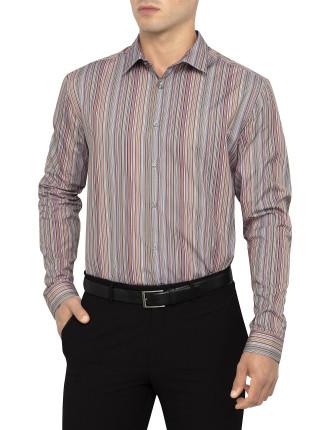 Slim Pin Stripe Business Shirt with Single Cuff