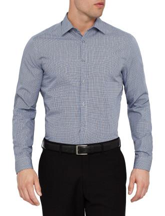 Slim Prince Of Wales Check Business Shirt W/ Sc