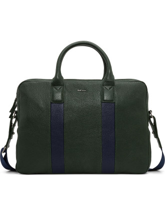 Colour Block Stamped Leather Single Zip Brief Case