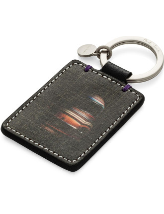 Mini Cross Hatch Printed Leather Keyfob