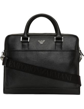 Fast Saffiano Leather Single Zip Briefcase