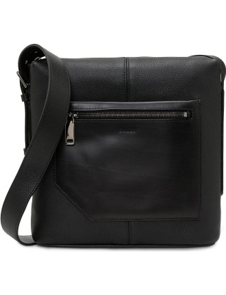 Brummel pebbled leather Crossbody Messenger bag